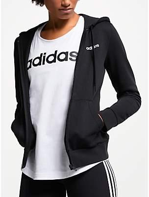 adidas Essentials Solid Full Zip Training Hoodie, Black