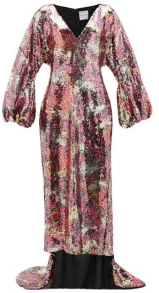 Halpern Balloon Sleeve Blossom-sequinned Gown - Womens - Pink Multi