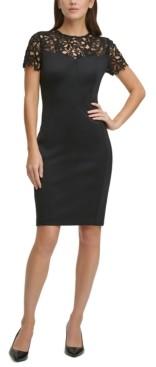 Calvin Klein Lace-Top Scuba Sheath Dress