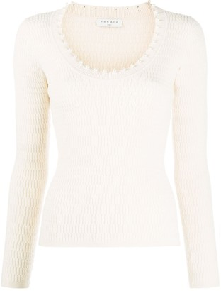 Sandro Jisel beaded-neck sweater