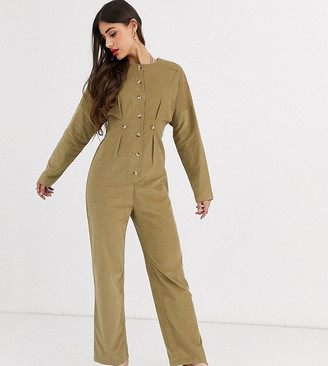 Asos Tall ASOS DESIGN Tall cord relaxed boilersuit in khaki