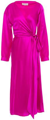 Mason by Michelle Mason Silk-charmeuse Midi Wrap Dress