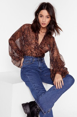 Nasty Gal Womens All I'm Sheer-ing Leopard Balloon Sleeve Blouse - Brown