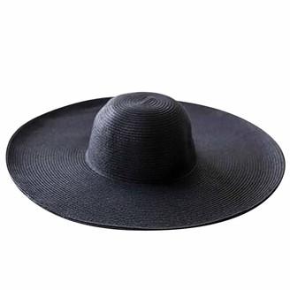 Fhuuly Women Straw Hat Big Brim Sun Hat Floppy Foldable Roll up Beach Cap (Black)