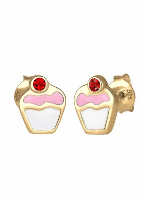 Elli Children's 925 Sterling Silver Gold Plated Cupcake Earrings