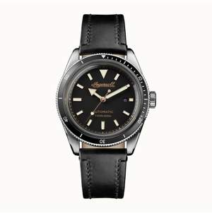 Ingersoll Scovill Automatic with Stainless Steel Case, Black Dial and Black Leather Strap