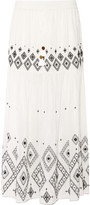 Rachel Zoe Embroidered Silk And Cotton-Blend Maxi Skirt
