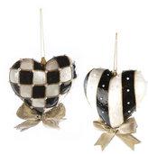 Mackenzie Childs MacKenzie-Childs - Black & White Heart Tree Decorations - Set of 2