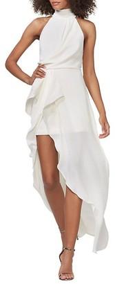 Halston Sleeveless Mock Neck Drape Front Side Slit Column Gown