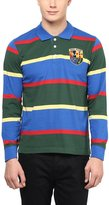 American Crew Men's Premium Jersey Long Sleeve Stripes Polo T-Shirt- XXL (AC255BFS-XXL)