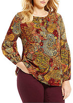 Westbound Plus Jacquard Peasant Top