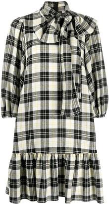 RED Valentino Check-Print Puff-Sleeve Dress
