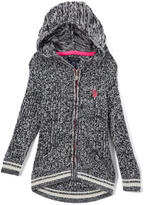 U.S. Polo Assn. Black Heather Sport Rib Hooded Sweater - Girls