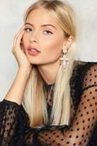 Nasty Gal nastygal Double Cross Diamante Earrings