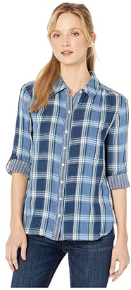 Vince Camuto Roll Tab Double-Face Plaid One-Pocket Shirt (Caviar) Women's Clothing