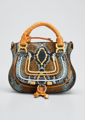 Chloé Marcie Mini Python-Embossed Double-Carry Satchel Bag