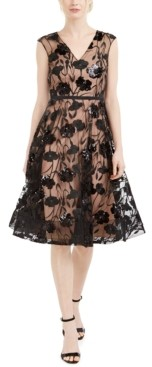 Calvin Klein Sequined-Flower Mesh Dress