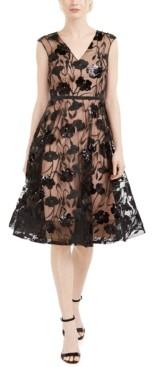 Calvin Klein Sequined-Flower Mesh Dress