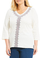 Allison Daley Plus V-Neck Embroidered 3/4 Sleeve Solid Knit Top