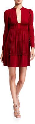 Valentino Long-Sleeve Silk Dress