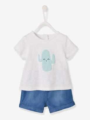Vertbaudet Cactus T-Shirt + Denim Shorts Ensemble for Baby Boys