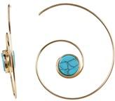 Cara Accessories Turquoise Seashell Swirl Hoop Threader Earrings