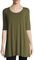 Eileen Fisher Half-Sleeve Scoop-Neck Jersey Tunic, Plus Size