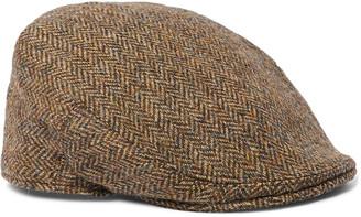 Anderson & Sheppard Herringbone Wool-Tweed Flat Cap