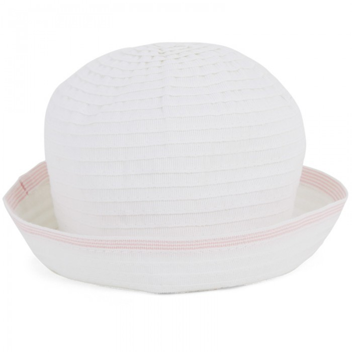 Grevi White Sun Hat With Pink Trim