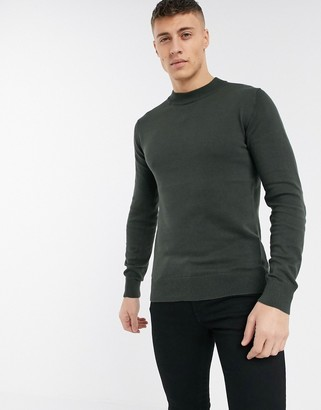 Brave Soul 100% cotton turtle neck jumper in khaki