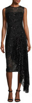 Milly Katia Sleeveless Asymmetric Sequined Tulle Sheath Dress, Black