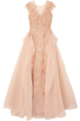 Marchesa Tulle-paneled Draped Embroidered Gazar Gown