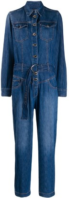 Pinko long-sleeved denim jumpsuit