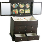 Asstd National Brand Kathy Ireland Black-Finish Photo Frame Jewelry Box