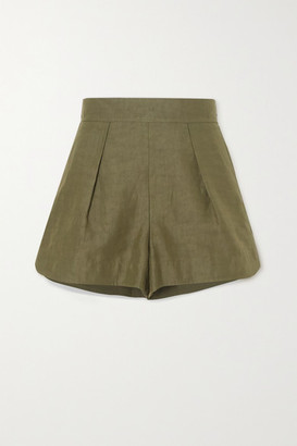 Chloé Pleated Linen And Cotton-blend Shorts - Green