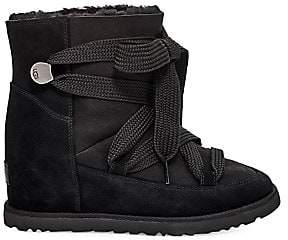 UGG Women's Classic Femme Shearling-Lined Leather Wedge Boots