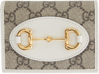 Gucci Beige and White 1955 Horsebit Card Holder