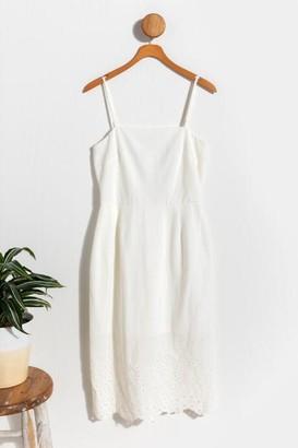 francesca's Faye Scalloped Fitted Midi Dress - Ivory