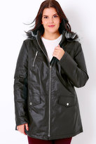 Yours Clothing Black Coated Parka With Tipped Faux Fur Trim Hood