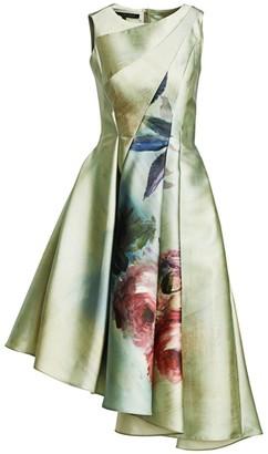 Rubin Singer Asymmetrical Floral-Print A-Line Dress