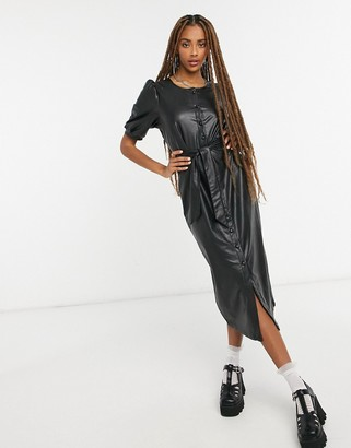 Only midi dress in black faux leather