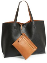 Street Level Junior Women's Reversible Faux Leather Tote & Wristlet - Black