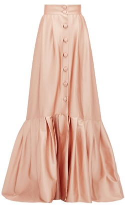 Luisa Beccaria Pleated-hem Buttoned Satin Skirt - Womens - Light Pink