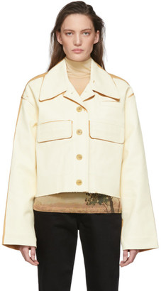 Acne Studios Beige and Tan Painted Twill Jacket