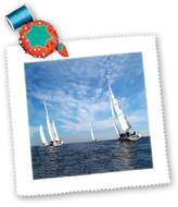 3dRose qs_1248_1 Sail Boats Quilt Square, 10 by 10-Inch
