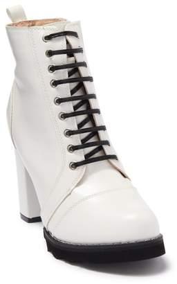 Chase & Chloe Binx Block Heel Combat Boot