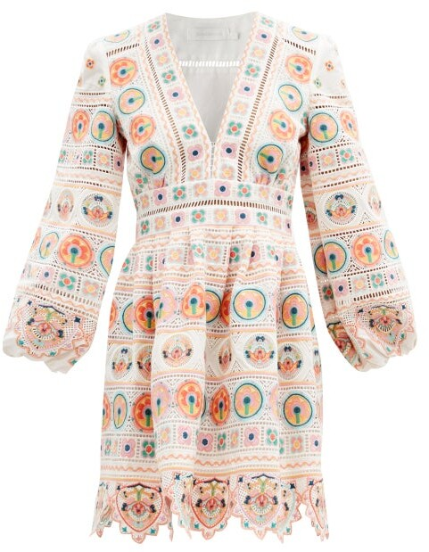 Zimmermann Brighton Broderie-anglaise Cotton Mini Dress - Orange Print