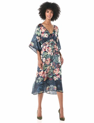 Johnny Was Women's V Neck Silk Floral Dress with Slip
