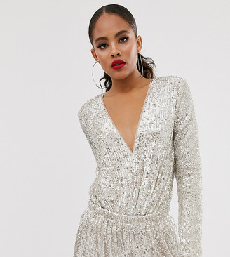 TFNC Tall Tall wrap front bodysuit in silver sequin