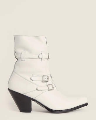 Celine White Buckle Leather Ankle Boots
